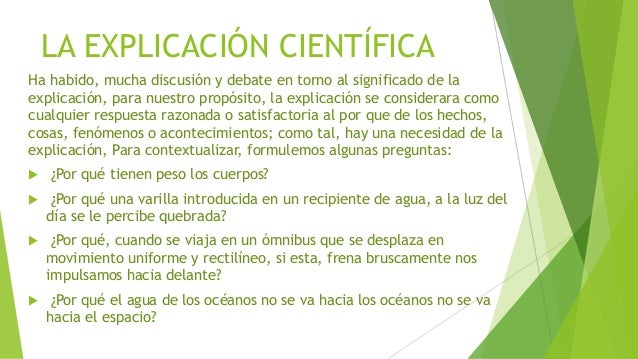 la explicacion y prediccion cientifica