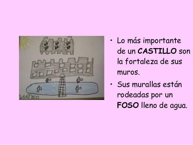 • Lo más importante  de un CASTILLO son  la fortaleza de sus  muros.• Sus murallas están  rodeadas por un  FOSO lleno de a...