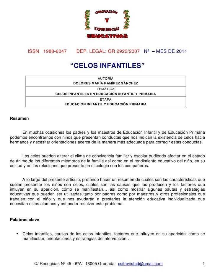 "ISSN 1988-6047            DEP. LEGAL: GR 2922/2007 Nº – MES DE 2011                                ""CELOS INFANTILES""     ..."