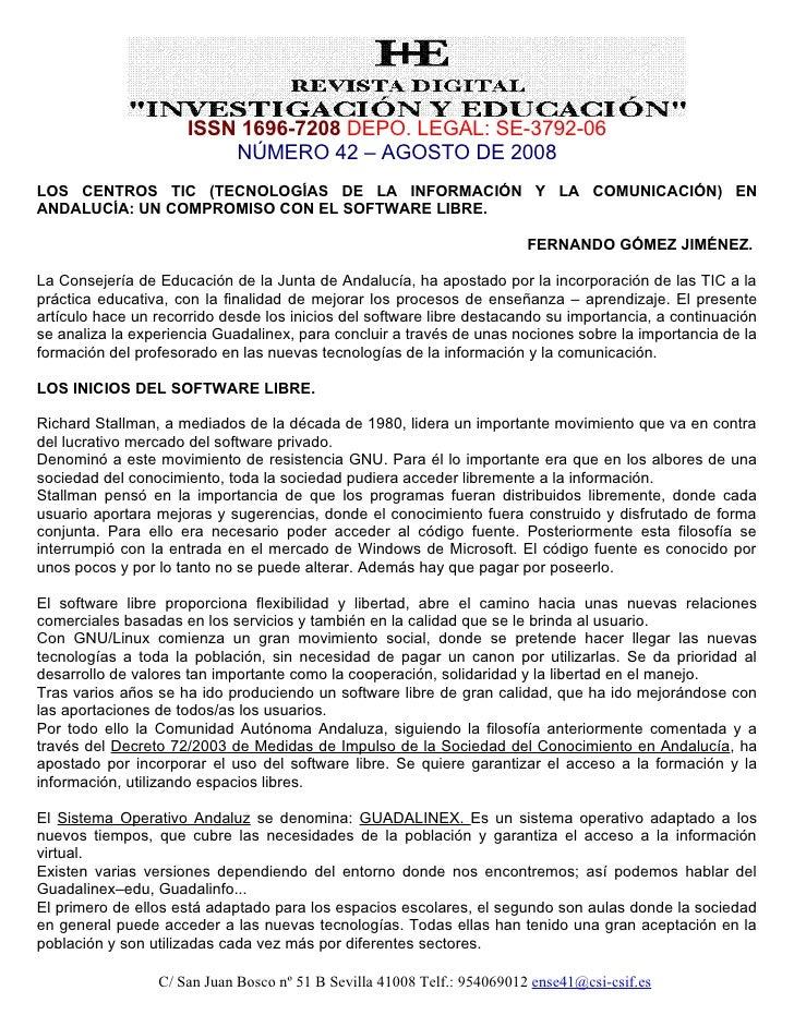 ISSN 1696-7208 DEPO. LEGAL: SE-3792-06                          NÚMERO 42 – AGOSTO DE 2008 LOS CENTROS TIC (TECNOLOGÍAS DE...