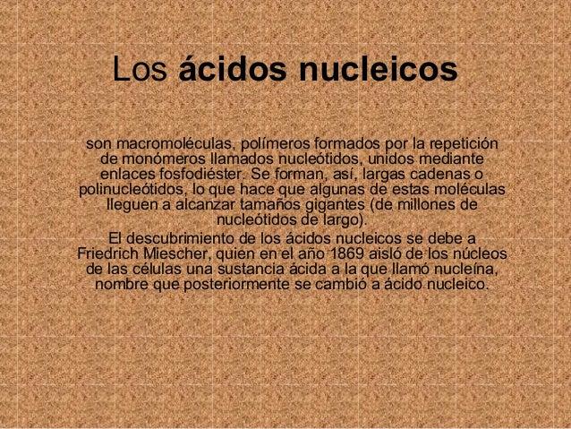 Los ácidos nucleicos son macromoléculas, polímeros formados por la repetición de monómeros llamados nucleótidos, unidos me...
