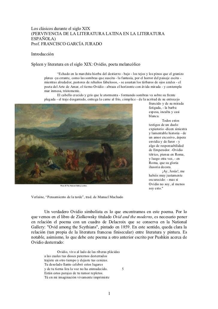 Los clásicos durante el siglo XIX(PERVIVENCIA DE LA LITERATURA LATINA EN LA LITERATURAESPAÑOLA)Prof. FRANCISCO GARCÍA JURA...
