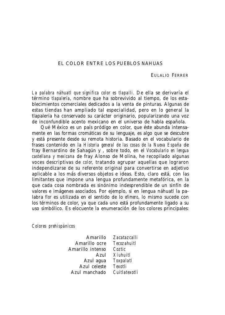 EL COLOR ENTRE LOS PUEBLOS NAHUAS                                                        EULALIO FERRERLa palabra náhuatl ...