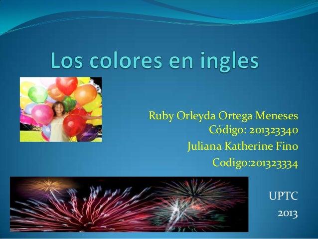 Ruby Orleyda Ortega Meneses Código: 201323340 Juliana Katherine Fino Codigo:201323334 UPTC 2013