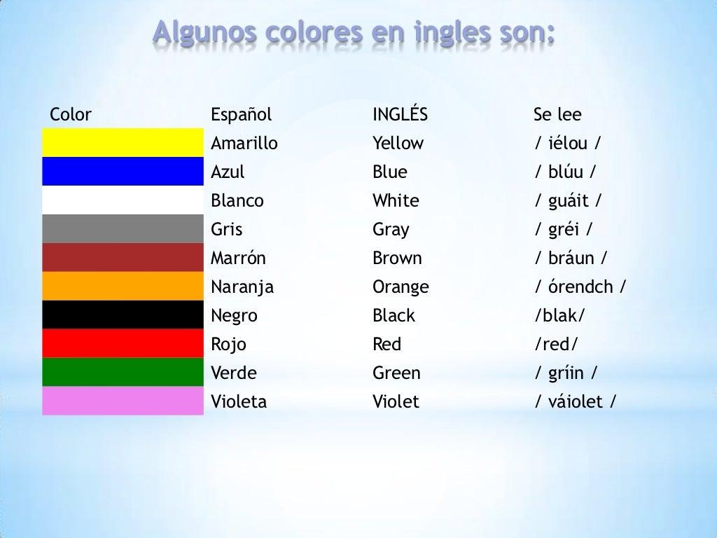 Цвета по испански картинка