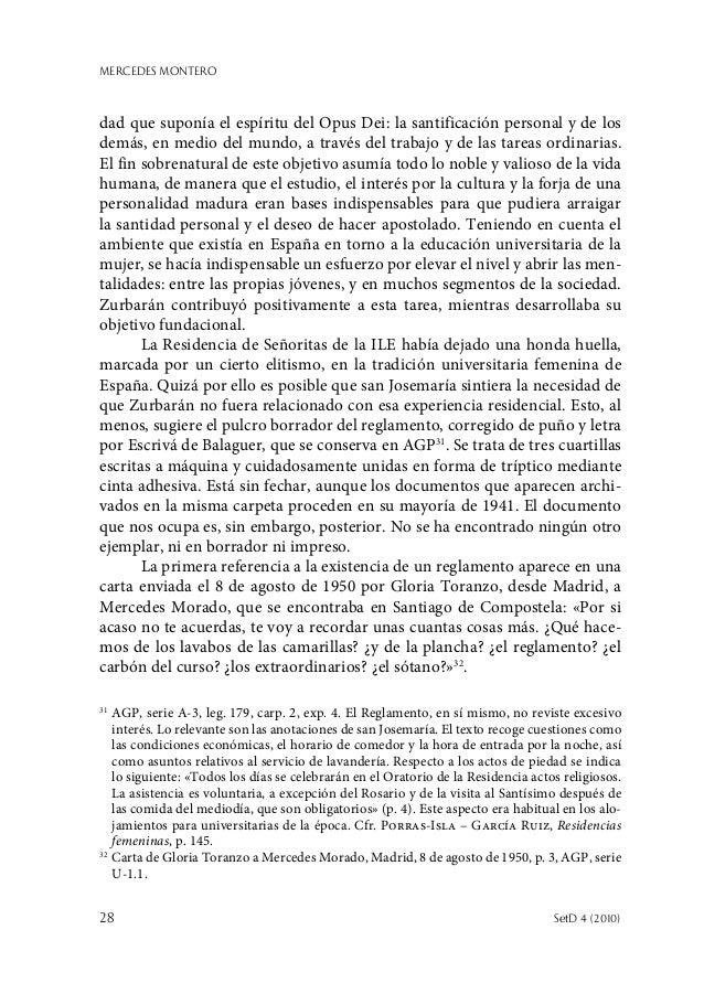 MERCEDES MONTERO 28  SetD 4 (2010) dad que suponía el espíritu del Opus Dei: la santificación personal y de los demás, en...