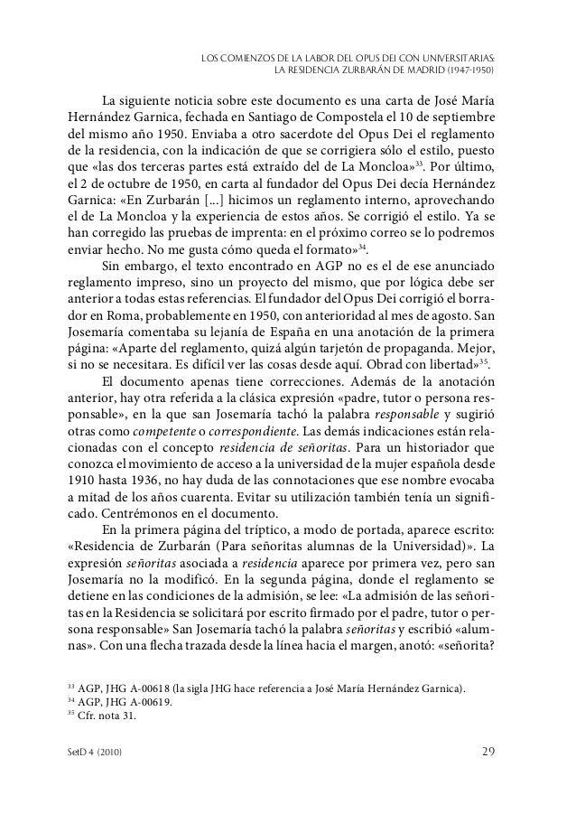 Los comienzos de la labor del Opus Dei con universitarias: la Residencia Zurbarán de Madrid (1947-1950) SetD 4 (2010)  29...