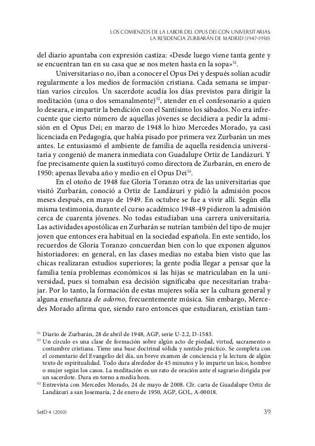 Los comienzos de la labor del Opus Dei con universitarias: la Residencia Zurbarán de Madrid (1947-1950) SetD 4 (2010)  39...