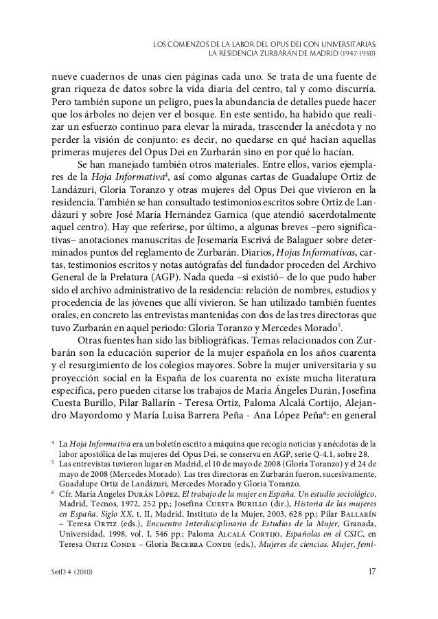 Los comienzos de la labor del Opus Dei con universitarias: la Residencia Zurbarán de Madrid (1947-1950) SetD 4 (2010)  17...