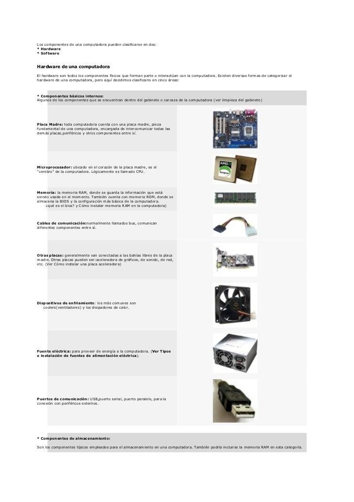Los componentes de una computadora pueden clasificarse en dos:* Hardware* SoftwareHardware de una computadoraEl hardware s...