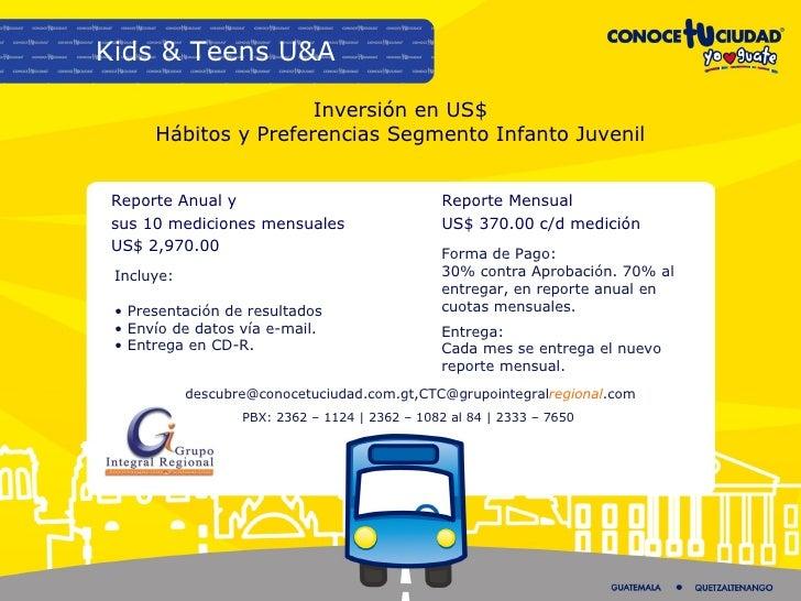 Inversión en US$ Hábitos y Preferencias Segmento Infanto Juvenil Reporte Anual y  sus 10 mediciones mensuales US$ 2,970.00...