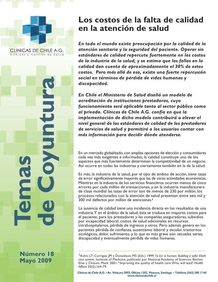 Los costos de la falta de calidad             en la atención de salud             En todo el mundo existe preocupación por...
