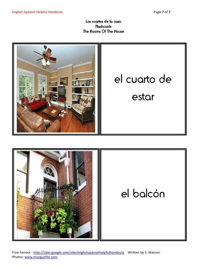 English-Spanish Helpful Handouts-Los Cuartos De La Casa ... - photo#10