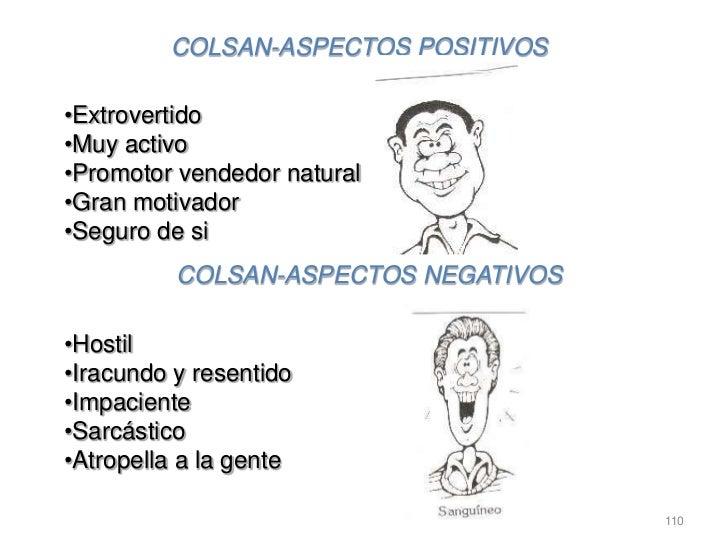 COLSAN-ASPECTOS POSITIVOS•Extrovertido•Muy activo•Promotor vendedor natural•Gran motivador•Seguro de si          COLSAN-AS...
