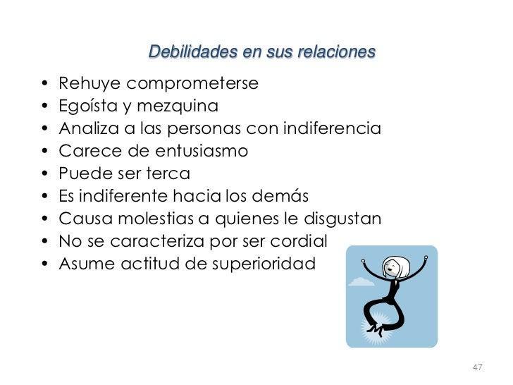 Debilidades en sus relaciones•   Rehuye comprometerse•   Egoísta y mezquina•   Analiza a las personas con indiferencia•   ...