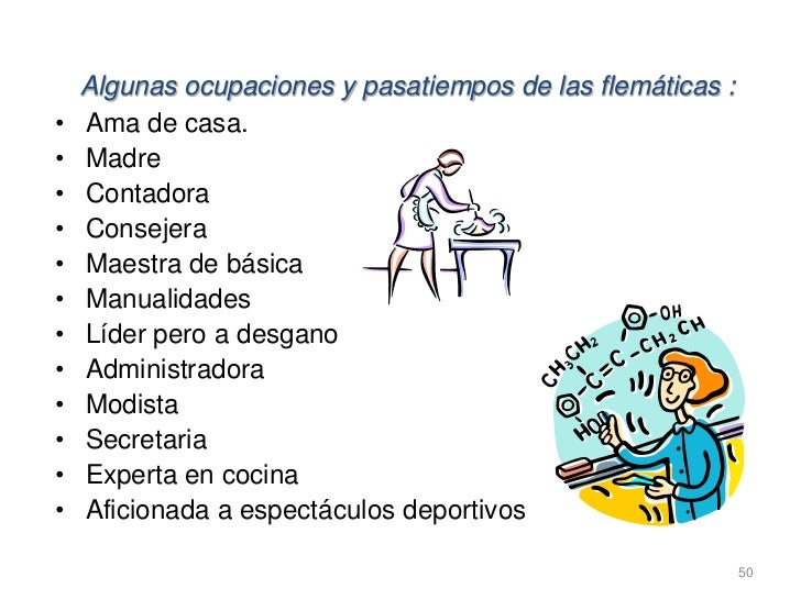 Algunas ocupaciones y pasatiempos de las flemáticas :•   Ama de casa.•   Madre•   Contadora•   Consejera•   Maestra de bás...