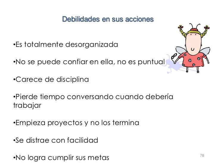 Debilidades en sus acciones•Es totalmente desorganizada•No se puede confiar en ella, no es puntual•Carece de disciplina•Pi...