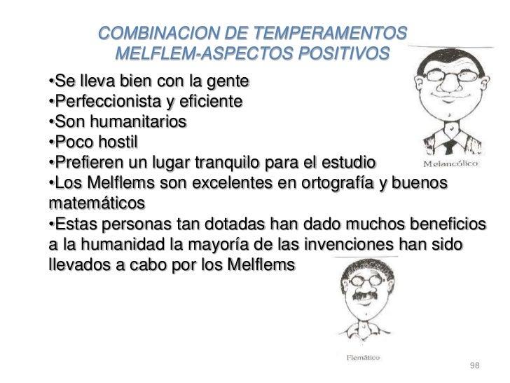 COMBINACION DE TEMPERAMENTOS      MELFLEM-ASPECTOS POSITIVOS•Se lleva bien con la gente•Perfeccionista y eficiente•Son hum...