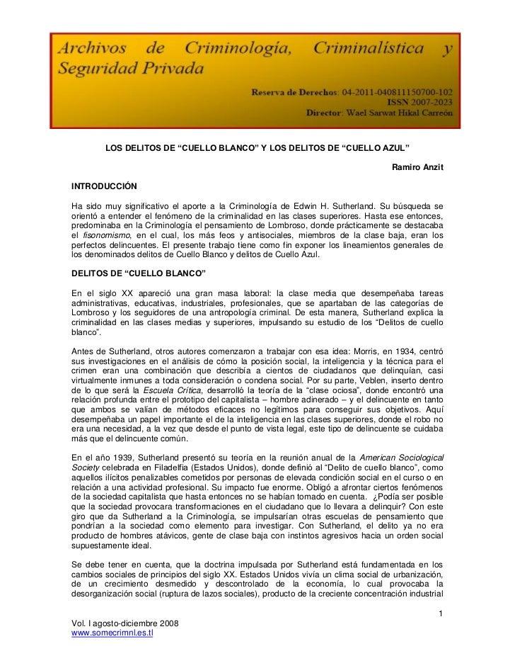 """LOS DELITOS DE """"CUELLO BLANCO"""" Y LOS DELITOS DE """"CUELLO AZUL""""                                                             ..."""