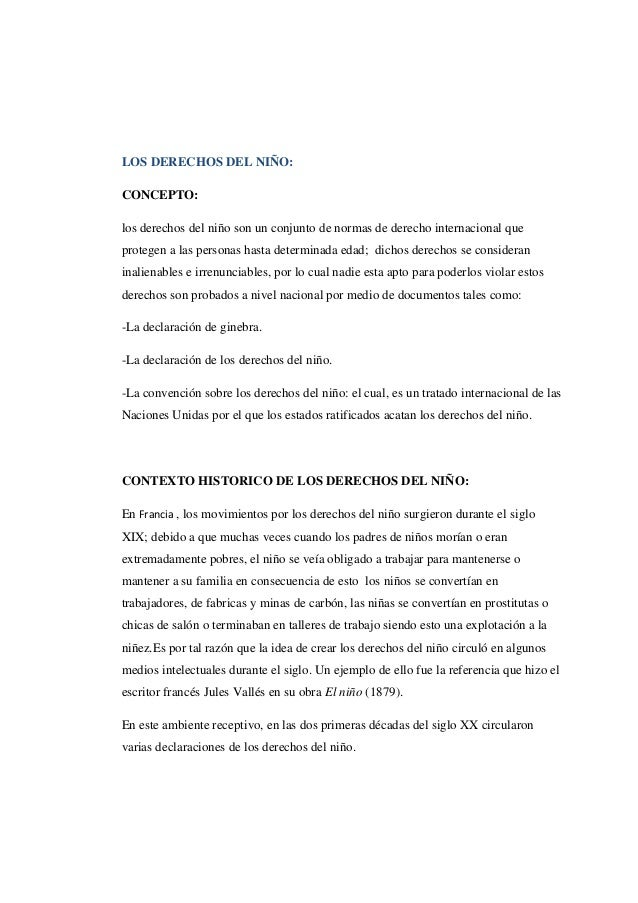 LOS DERECHOS DEL NIÑO: CONCEPTO: los derechos del niño son un conjunto de normas de derecho internacional que protegen a l...