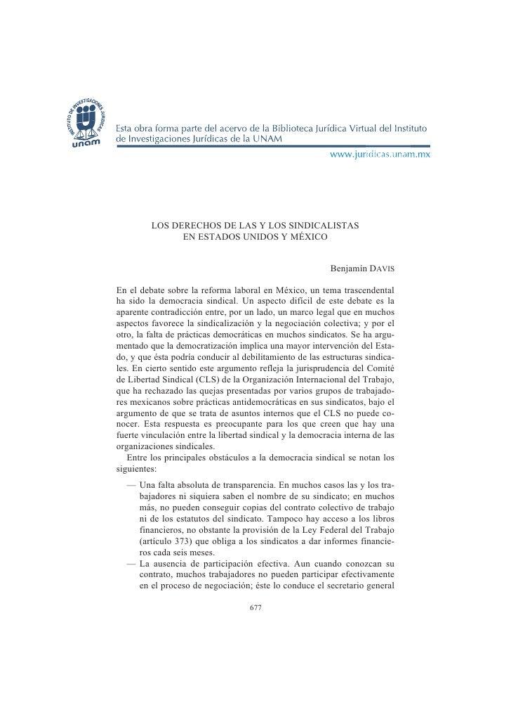 677              LOS DERECHOS DE LAS Y LOS SINDICALISTAS                EN ESTADOS UNIDOS Y MÉXICO                        ...