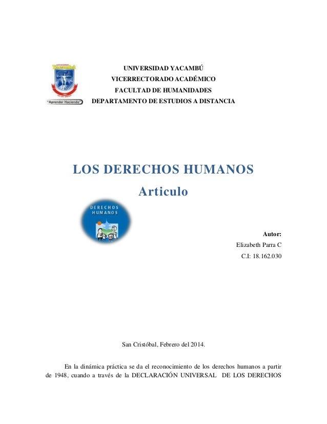 UNIVERSIDAD YACAMBÚ VICERRECTORADO ACADÉMICO FACULTAD DE HUMANIDADES DEPARTAMENTO DE ESTUDIOS A DISTANCIA  LOS DERECHOS HU...