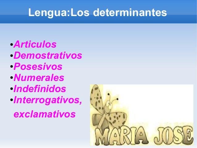 Lengua:Los determinantes  ●Articulos  ●Demostrativos  ●Posesivos  ●Numerales  ●Indefinidos  ●Interrogativos,  exclamativos