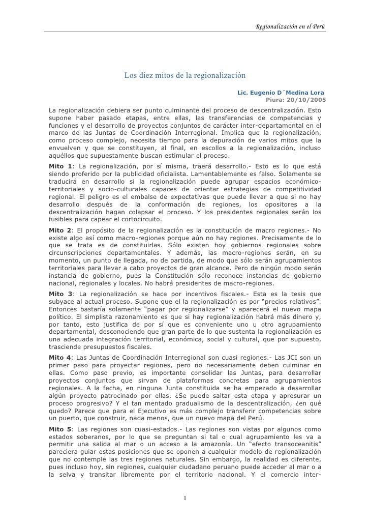 Regionalización en el Perú                             Los diez mitos de la regionalización                               ...