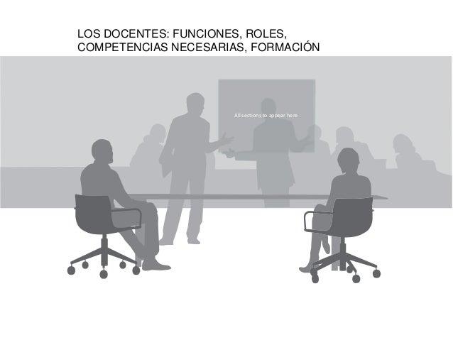 LOS DOCENTES: FUNCIONES, ROLES,COMPETENCIAS NECESARIAS, FORMACIÓN                     All sections to appear here