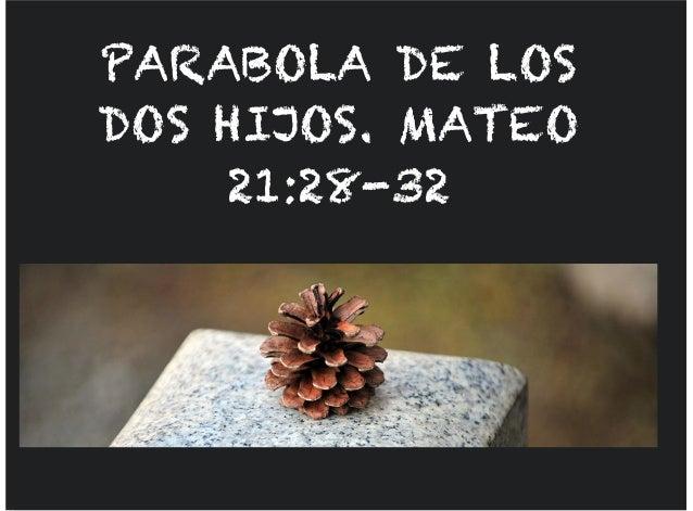 PARABOLA DE LOS DOS HIJOS. MATEO 21:28-32