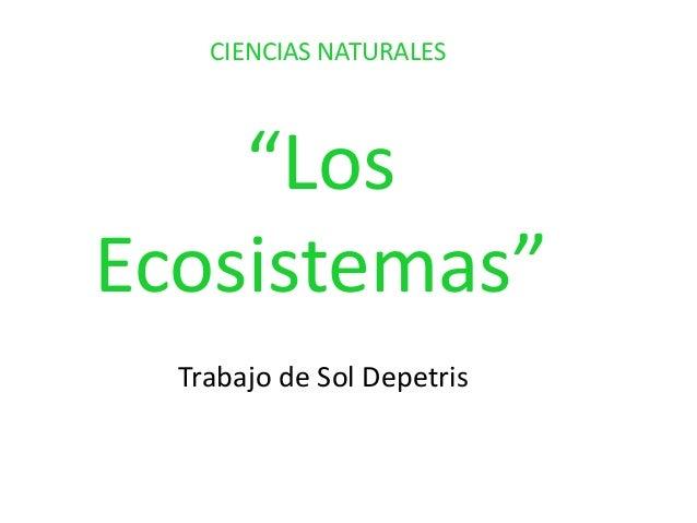 """""""Los Ecosistemas"""" Trabajo de Sol Depetris CIENCIAS NATURALES"""