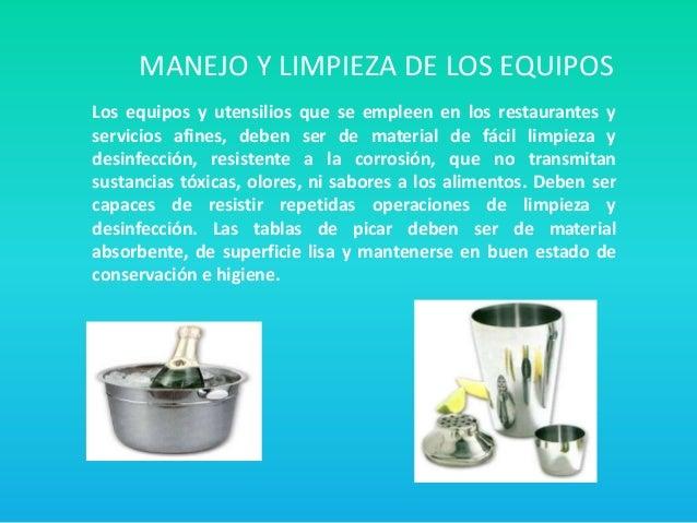 Los equipos y utensilios de trabajo for Manual de limpieza y desinfeccion en restaurantes
