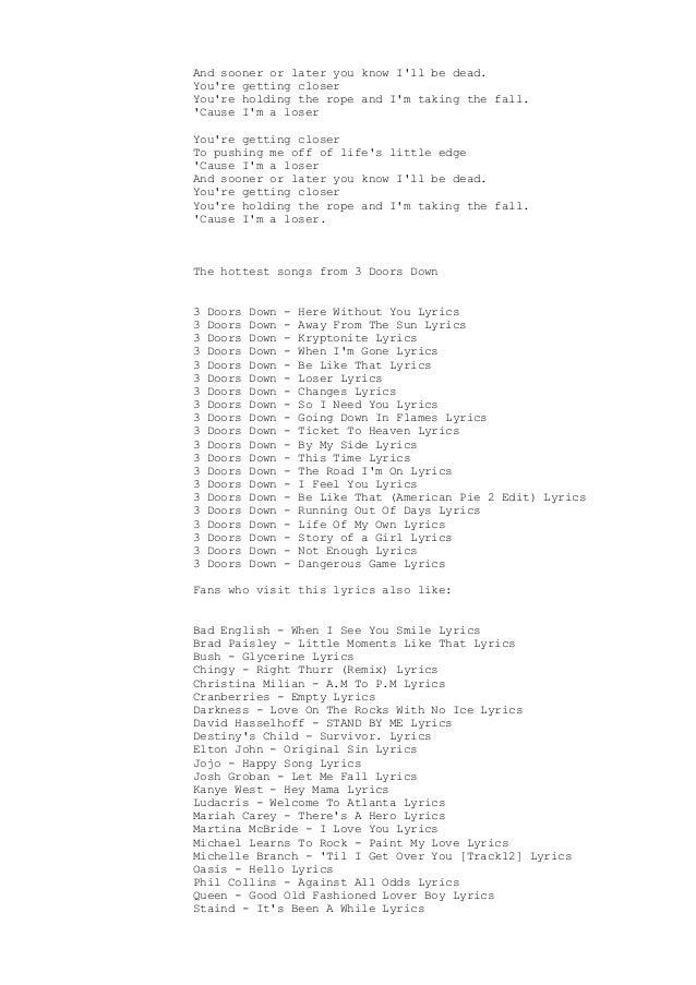 Loser Lyrics 3 Doors Down