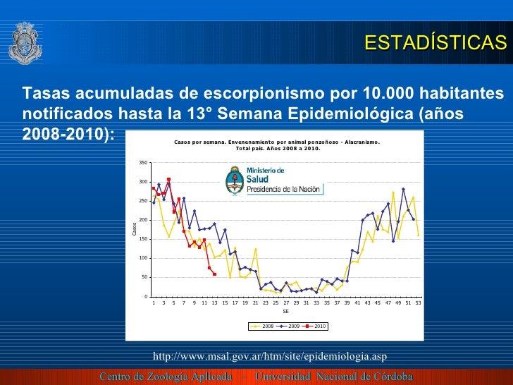 http://www.msal.gov.ar/htm/site/epidemiologia.asp Tasas acumuladas de escorpionismo por 10.000 habitantes notificados hast...