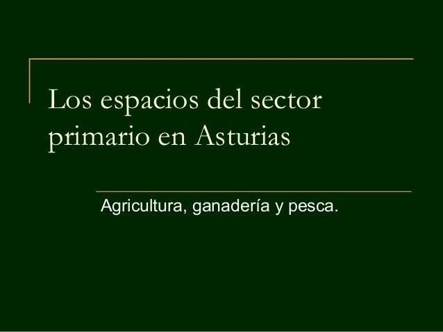 Los espacios del sector primario en Asturias Agricultura, ganadería y pesca.