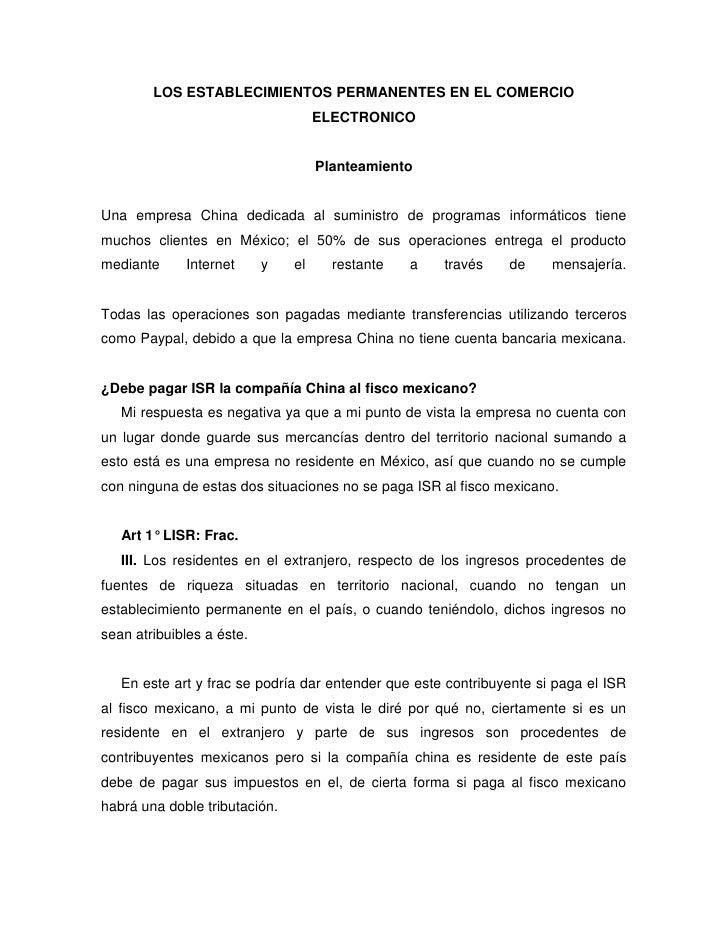 LOS ESTABLECIMIENTOS PERMANENTES EN EL COMERCIO                                    ELECTRONICO                            ...