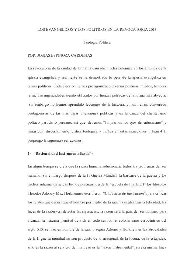 LOS EVANGELICOS Y LOS POLITICOS EN LA REVOCATORIA 2013                                      Teología PolíticaPOR: JOSIAS E...