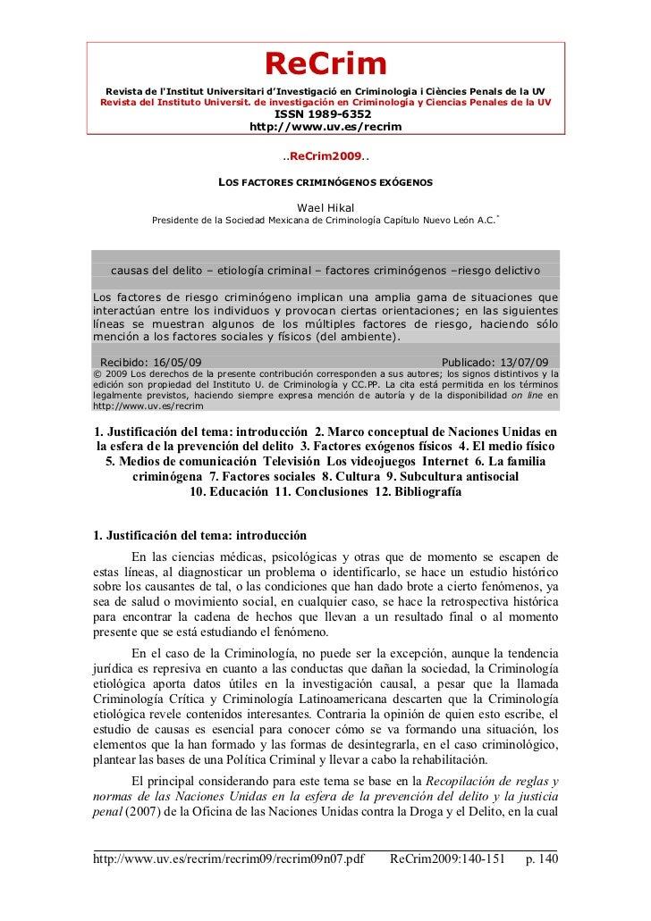 ReCrim  Revista de lInstitut Universitari d'Investigació en Criminologia i Ciències Penals de la UV Revista del Instituto ...