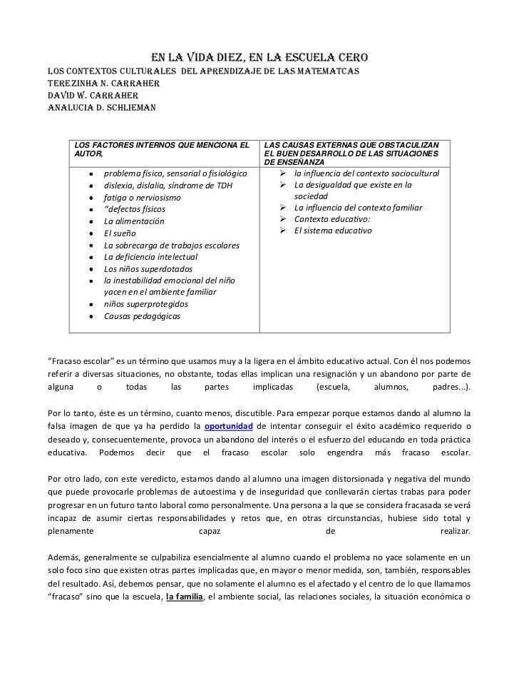 EN LA VIDA DIEZ, EN LA ESCUELA CERO<br />LOS CONTEXTOS CULTURALES  DEL APRENDIZAJE DE LAS MATEMATCAS <br />TEREZINHA N. CA...