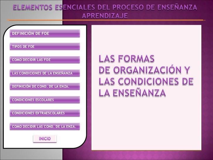 DEFINICIÓN DE FOE TIPOS DE FOE COMO DECIDIR LAS FOE LAS CONDICIONES DE LA ENSEÑANZA COMO DECIDIR LAS COND. DE LA ENZA. CON...