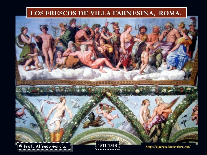 © Prof. Alfredo García. http:// algargos.lacoctelera.net / LOS FRESCOS DE VILLA FARNESINA,  ROMA.  1511-1518