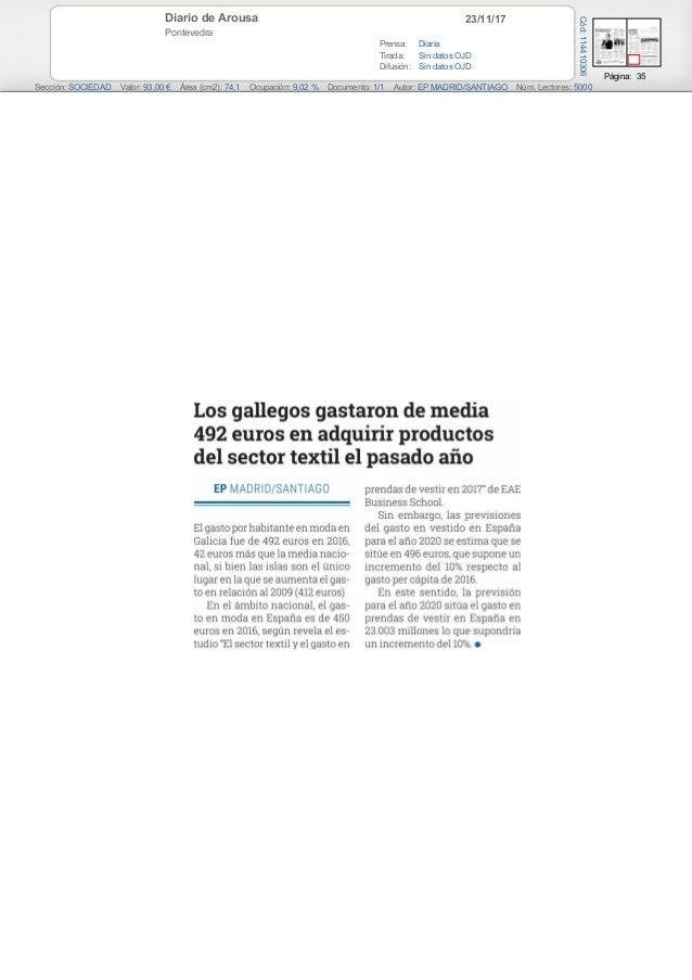 23/11/17Diario de Arousa Pontevedra Prensa: Diaria Tirada: Sin datos OJD Difusión: Sin datos OJD Página: 35 Sección: SOCIE...