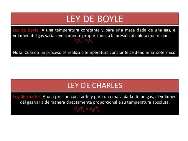 LEY DE BOYLELey de Boyle. A una temperatura constante y para una masa dada de una gas, elvolumen del gas varia inversament...