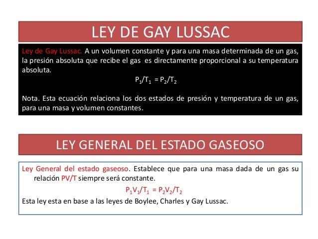 LEY DE GAY LUSSACLey de Gay Lussac. A un volumen constante y para una masa determinada de un gas,la presión absoluta que r...