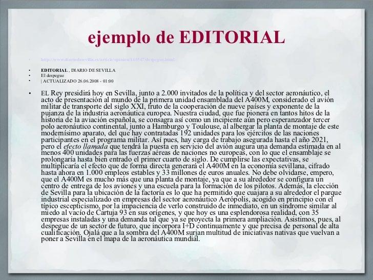 Los generos periodisticos 1 for Ejemplo de una editorial de un periodico mural