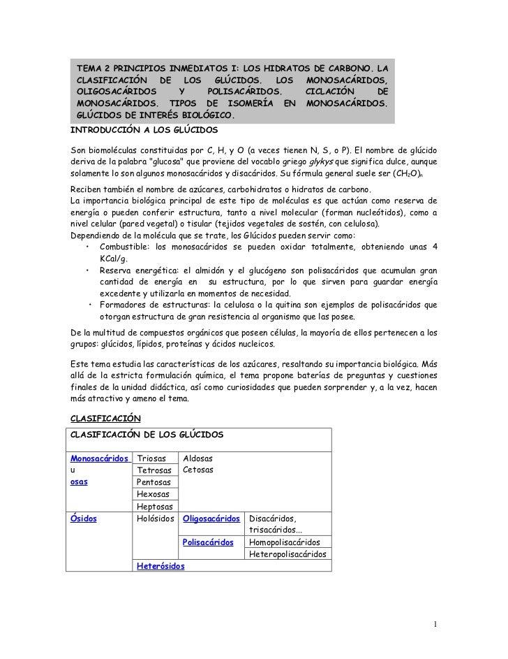 TEMA 2 PRINCIPIOS INMEDIATOS I: LOS HIDRATOS DE CARBONO. LA CLASIFICACIÓN   DE   LOS  GLÚCIDOS.   LOS  MONOSACÁRIDOS, OLIG...