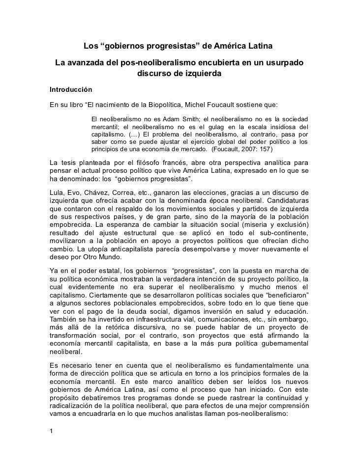 """Los """"gobiernos progresistas"""" de América Latina    La avanzada del pos-neoliberalismo encubierta en un usurpado            ..."""