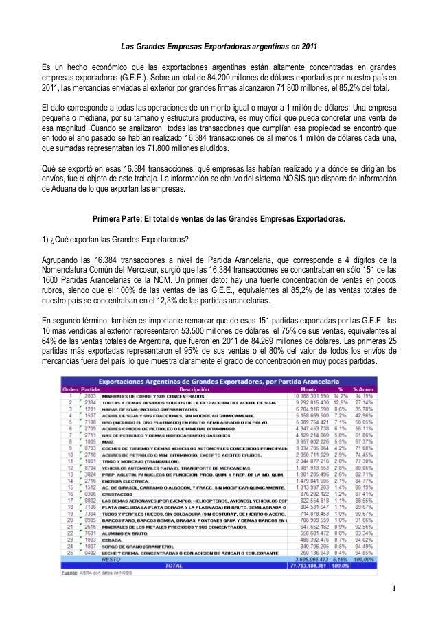 Las Grandes Empresas Exportadoras argentinas en 2011Es un hecho económico que las exportaciones argentinas están altamente...