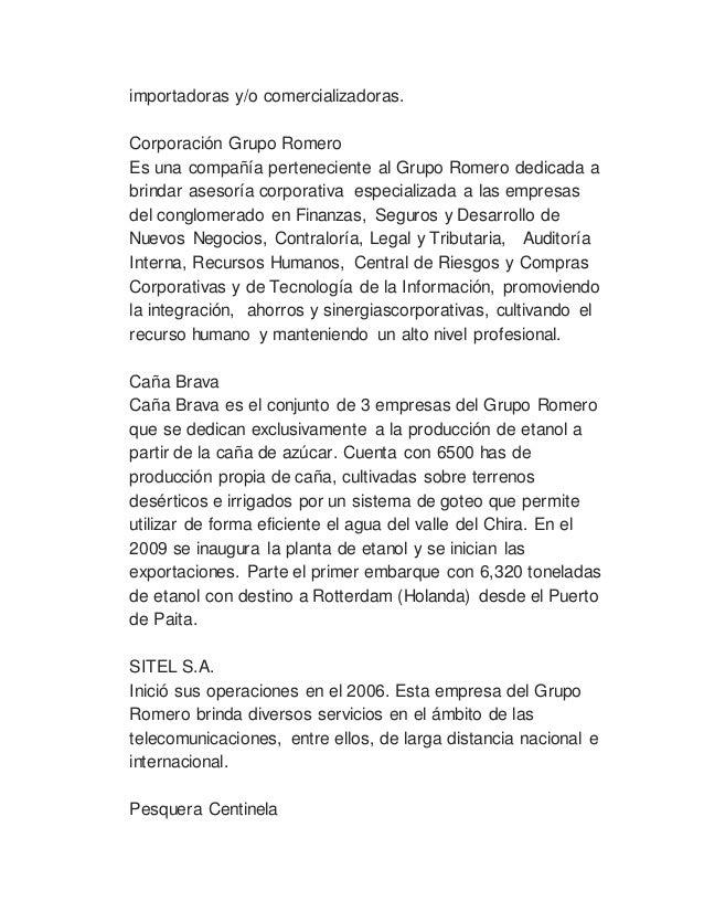 ... 10. importadoras y o comercializadoras. Corporación Grupo Romero ... 7126043ea9e