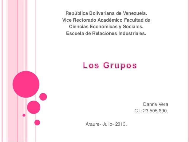 República Bolivariana de Venezuela. Vice Rectorado Académico Facultad de Ciencias Económicas y Sociales. Escuela de Relaci...